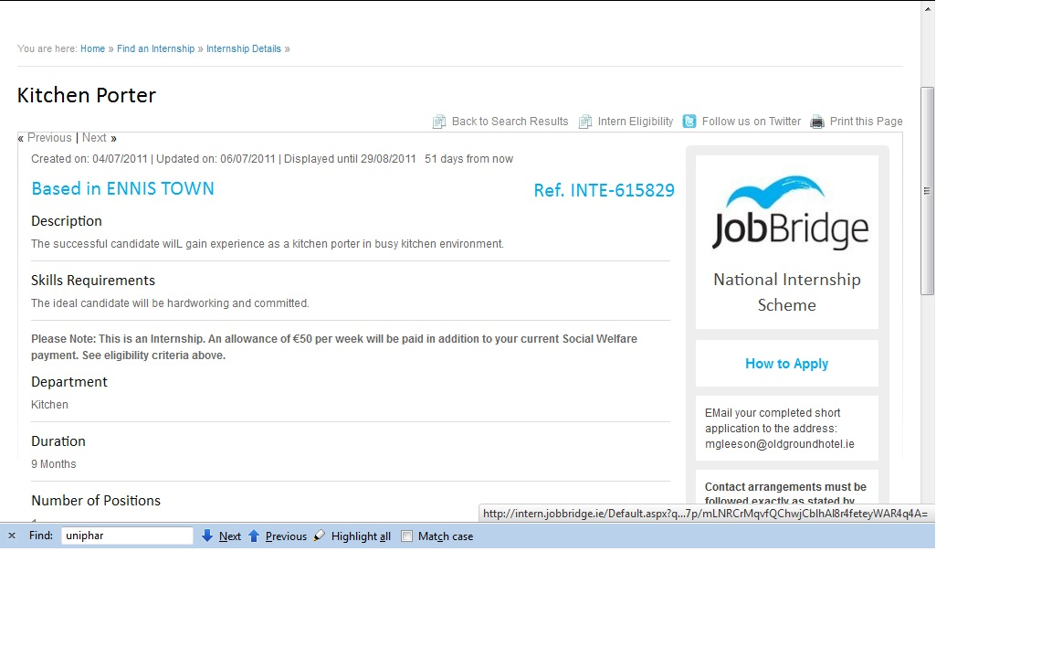 jobbridge and labour maman poulet a kitchen porter or has let staff go then how can it be allowed to get labour for other hotels in ennis who pay wages and prsi are surely being